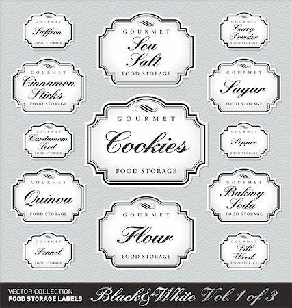 set (1 of 3) of ornate vector labels for food storage jars/containers of different sizes; scalable and editable vector illustrations; 2 more sets with the same design in my portfolio; Stock Photo - Budget Royalty-Free & Subscription, Code: 400-04353722