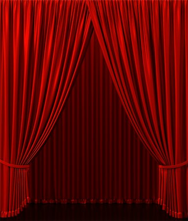 Red curtain on the stage. Theater Performance Stock Photo - Budget Royalty-Free & Subscription, Code: 400-04365587
