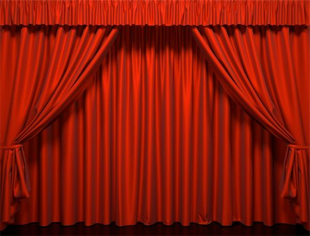 Red curtain on the stage. Theater Performance Stock Photo - Budget Royalty-Free & Subscription, Code: 400-04365589
