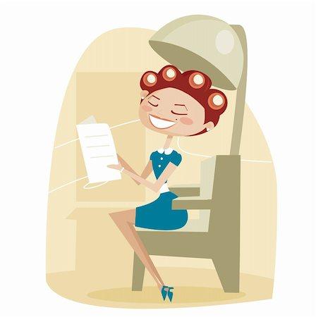 retro beauty salon images - Retro cartoon woman, at the hair salon, vector illustration Stock Photo - Budget Royalty-Free & Subscription, Code: 400-04365767