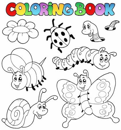 flower clipart paint - Coloring book with small animals 2 - vector illustration. Stock Photo - Budget Royalty-Free & Subscription, Code: 400-04365849
