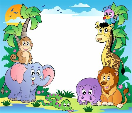 Frame with tropical animals 2 - vector illustration. Stock Photo - Budget Royalty-Free & Subscription, Code: 400-04365864