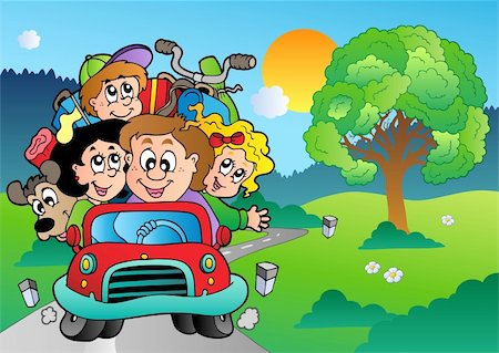 Family in car going on vacation - vector illustration. Stock Photo - Budget Royalty-Free & Subscription, Code: 400-04365861