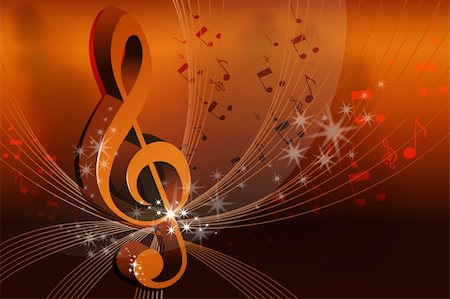 sheet music background - illustration of music card on abstract background Stock Photo - Budget Royalty-Free & Subscription, Code: 400-04366263