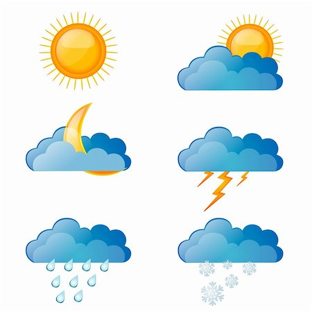 illustration of types of weather on white background Stock Photo - Budget Royalty-Free & Subscription, Code: 400-04366306