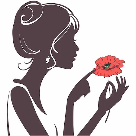 female lips drawing - beauty girl silhouette with red poppy Stock Photo - Budget Royalty-Free & Subscription, Code: 400-04366332