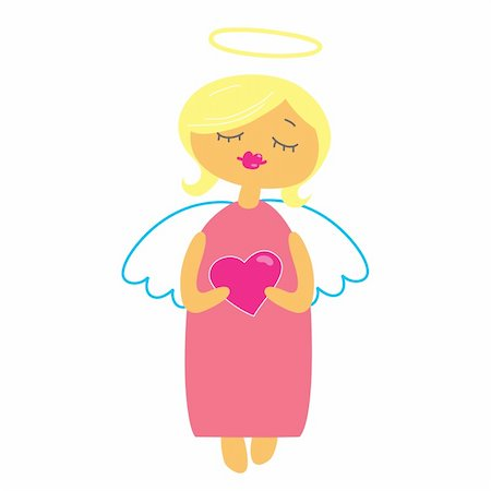 flying hearts clip art - symbol of Valentine's Day - an angel with a heart Stock Photo - Budget Royalty-Free & Subscription, Code: 400-04366579