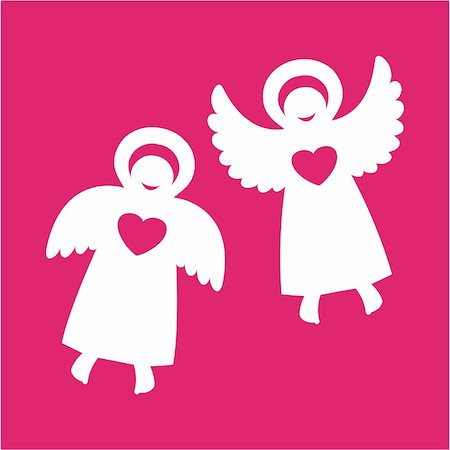 fly heart - Two angels with hearts on a red background Stock Photo - Budget Royalty-Free & Subscription, Code: 400-04366582