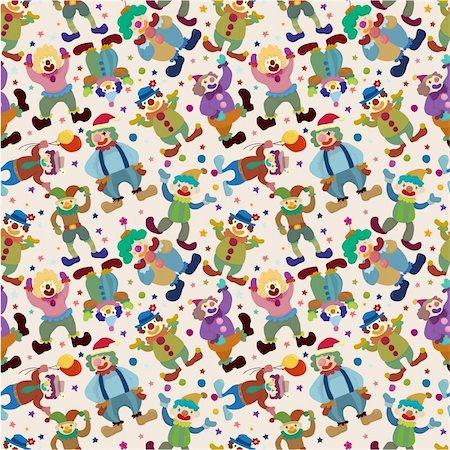 seamless cartoon circus clown pattern Stock Photo - Budget Royalty-Free & Subscription, Code: 400-04366682
