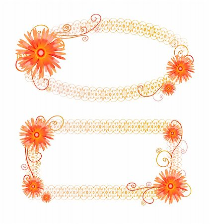 simsearch:400-04367215,k - Vector illustration with two orange frames with flowers Stock Photo - Budget Royalty-Free & Subscription, Code: 400-04367234