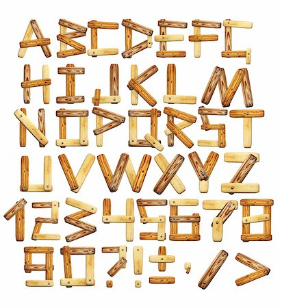Alphabet - letters from wooden boards. Isolated over white Stock Photo - Budget Royalty-Free & Subscription, Code: 400-04367501