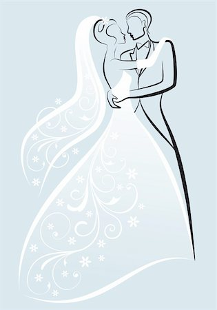 bride and bridegroom kissing, vector illustration Stock Photo - Budget Royalty-Free & Subscription, Code: 400-04367558