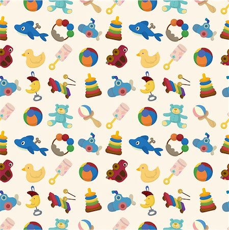 cartoon kid toy seamless pattern Stock Photo - Budget Royalty-Free & Subscription, Code: 400-04367680