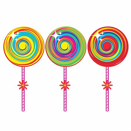 red circle lollipop - Set of colorful lollipops. Illustration on white background Stock Photo - Budget Royalty-Free & Subscription, Code: 400-04368620