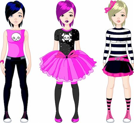 face woman beautiful clipart - Illustration of three  Emo stile girls Stock Photo - Budget Royalty-Free & Subscription, Code: 400-04368630