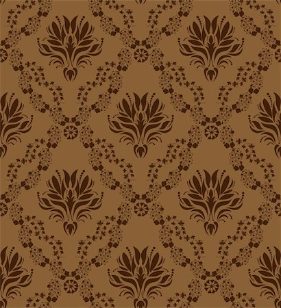 Damask seamless vector pattern.  For easy making seamless pattern just drag all group into swatches bar, and use it for filling any contours. Stock Photo - Budget Royalty-Free & Subscription, Code: 400-04368649
