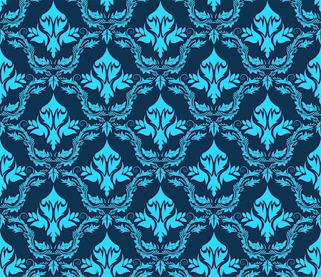 Damask seamless vector pattern.  For easy making seamless pattern just drag all group into swatches bar, and use it for filling any contours. Stock Photo - Budget Royalty-Free & Subscription, Code: 400-04368650