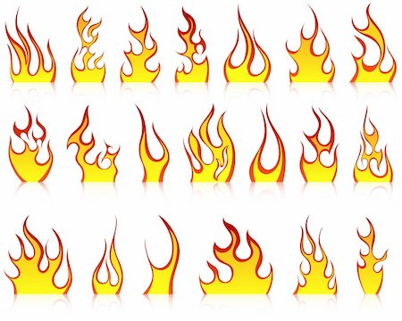 Set of fire vector icons for design use Stock Photo - Budget Royalty-Free & Subscription, Code: 400-04368662