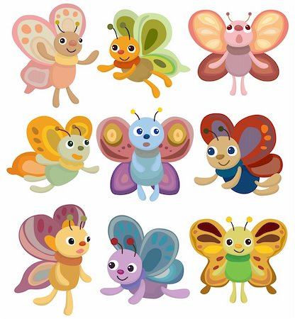 cartoon butterfly set icon Stock Photo - Budget Royalty-Free & Subscription, Code: 400-04368742