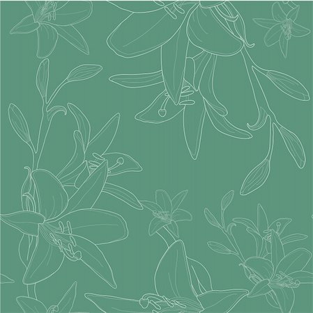 florist vector - Vector illustration of green seamless pattern with lilies Stock Photo - Budget Royalty-Free & Subscription, Code: 400-04368856