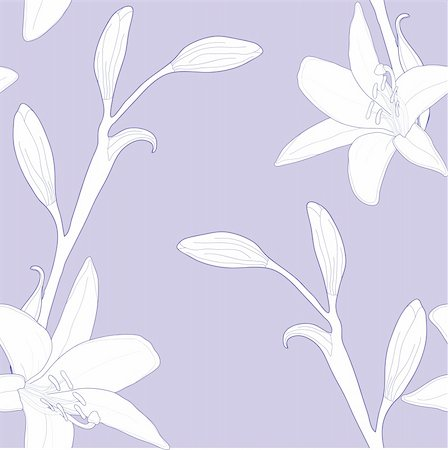 simsearch:400-04367215,k - Seamless pattern with lilies, vector illustration Stock Photo - Budget Royalty-Free & Subscription, Code: 400-04368859