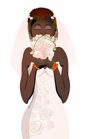 Vector illustration of beautiful bride in wedding dress smelling flowers Stock Photo - Budget Royalty-Free & Subscription, Code: 400-04368879