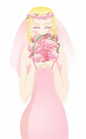 Vector illustration of beautiful blonde bride in a pink wedding dress holding bouquet of flowers Stock Photo - Budget Royalty-Free & Subscription, Code: 400-04368884