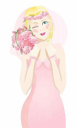 Vector illustration of beautiful blonde bride winking Stock Photo - Budget Royalty-Free & Subscription, Code: 400-04368886