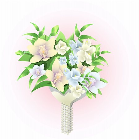 simsearch:400-04367215,k - Vector illustration of beautiful bridal bouquet of flowers Stock Photo - Budget Royalty-Free & Subscription, Code: 400-04368888