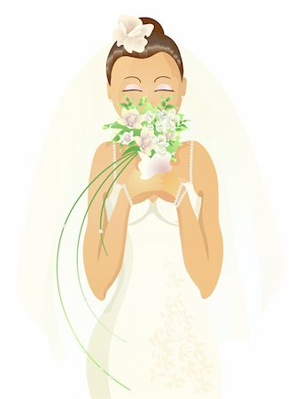 Vector illustration of beautiful bride with closed eyes smelling flowers Stock Photo - Budget Royalty-Free & Subscription, Code: 400-04368889