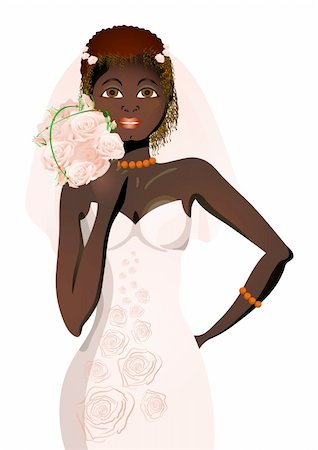 Vector illustration of beautiful bride in wedding dress holding bouquet of flowers Stock Photo - Budget Royalty-Free & Subscription, Code: 400-04368880