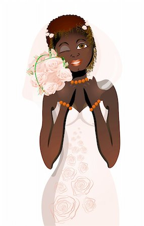 Vector illustration of beautiful bride with bouquet of flowers blinking Stock Photo - Budget Royalty-Free & Subscription, Code: 400-04368881