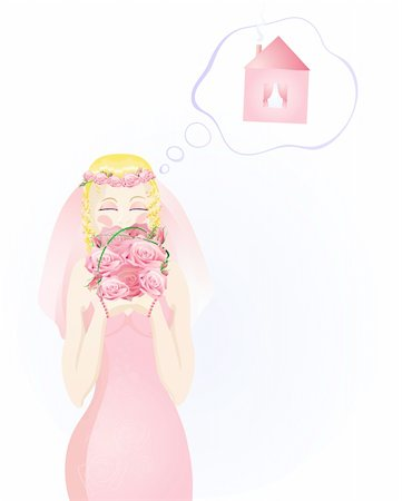Vector illustration of beautiful blonde bride in a pink wedding dress dreaming about own house Stock Photo - Budget Royalty-Free & Subscription, Code: 400-04368883