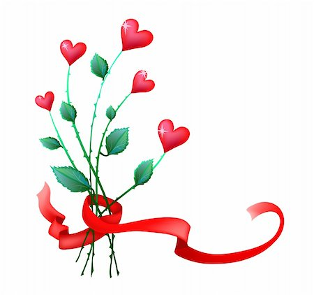 flower clipart paint - Vector illustration of valentine flowers with ribbon Stock Photo - Budget Royalty-Free & Subscription, Code: 400-04368936