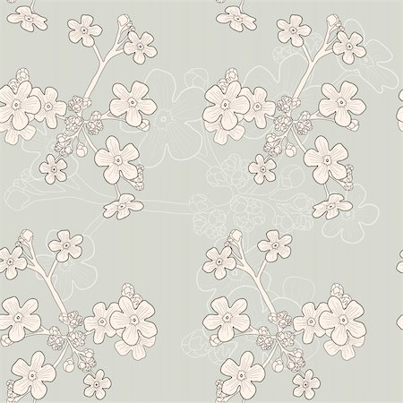 simsearch:400-04367215,k - Vector of grey seamless pattern with beige forget-me-nots Stock Photo - Budget Royalty-Free & Subscription, Code: 400-04368932