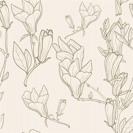 florist vector - Seamless pattern with magnolias, vector Stock Photo - Budget Royalty-Free & Subscription, Code: 400-04368933