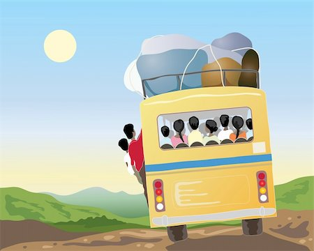 an illustration of a yellow bus full of passengers and luggage going through beautiful countryside in asia under a blue sky Stock Photo - Budget Royalty-Free & Subscription, Code: 400-04369848