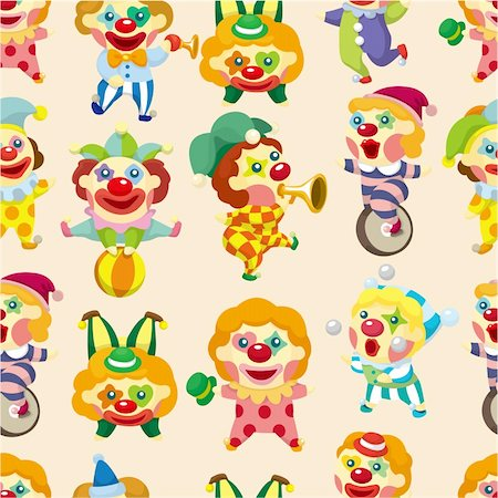 seamless cartoon circus clown pattern Stock Photo - Budget Royalty-Free & Subscription, Code: 400-04369914
