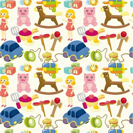 cartoon child toy seamless pattern Stock Photo - Budget Royalty-Free & Subscription, Code: 400-04369926