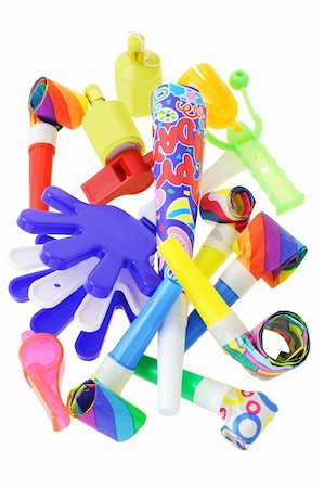paper blower - Assorted party noisemakers on white background Stock Photo - Budget Royalty-Free & Subscription, Code: 400-04360273