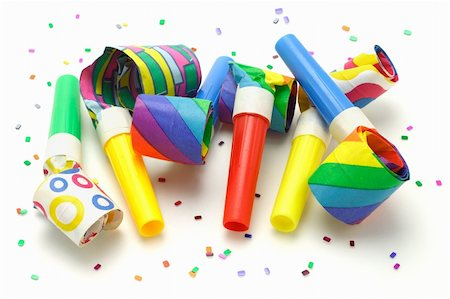 paper blower - Multicolor party blowers on white background Stock Photo - Budget Royalty-Free & Subscription, Code: 400-04360408
