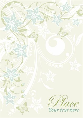 filigree designs in trees and insects - Flower decorative frame with butterfly, element for design, vector illustration Stock Photo - Budget Royalty-Free & Subscription, Code: 400-04362235