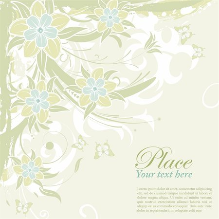 filigree designs in trees and insects - Grunge flower background with butterfly, element for design, vector illustration Stock Photo - Budget Royalty-Free & Subscription, Code: 400-04362236