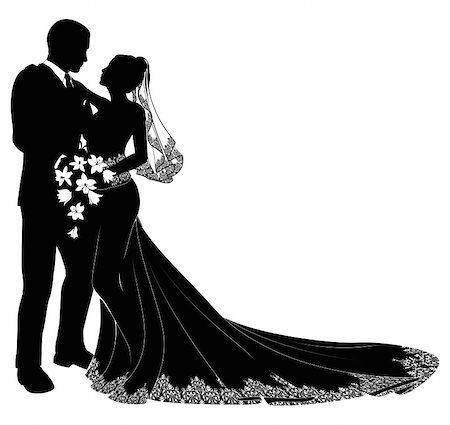 A bride and groom on their wedding day about to kiss in silhouette Stock Photo - Budget Royalty-Free & Subscription, Code: 400-04362316