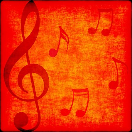 music notes on bright orange red grunge background Stock Photo - Budget Royalty-Free & Subscription, Code: 400-04362484