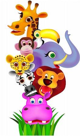 smiling chimpanzee - Animal cartoon vector Stock Photo - Budget Royalty-Free & Subscription, Code: 400-04362655