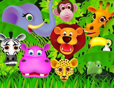 smiling chimpanzee - Animal cartoon vector Stock Photo - Budget Royalty-Free & Subscription, Code: 400-04362653