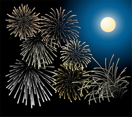 Silver and golden fireworks with moon on the background Stock Photo - Budget Royalty-Free & Subscription, Code: 400-04363043