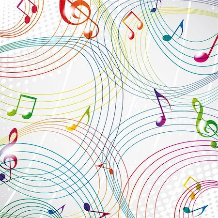 Colourful music note on a grey background eps10. Stock Photo - Budget Royalty-Free & Subscription, Code: 400-04363376