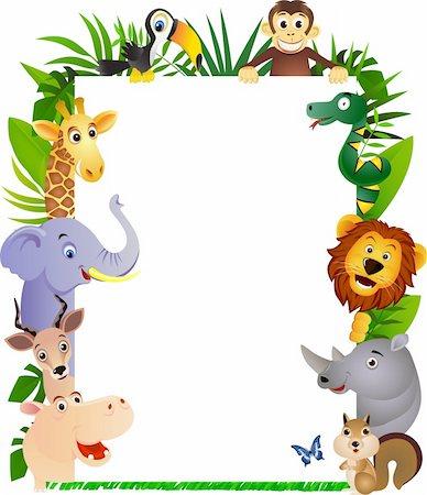 smiling chimpanzee - Animal cartoon frame Stock Photo - Budget Royalty-Free & Subscription, Code: 400-04363458